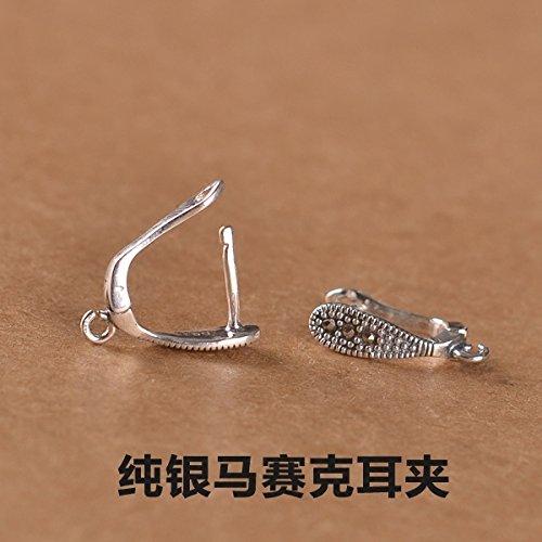 usongs s925 sterling silver ear clip earrings vintage Thai silver mosaic women girls models semi-finished silver earrings handmade accessories