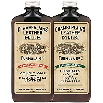 Leather Milk Leather Conditioner and Cleaner Kit - No. 1 - 2 Conditioner + Cleaner Kit - All Natural, Non-Toxic Leather Care. 2 Sizes. Made in the USA. Includes 2 Premium Restoration Pads!