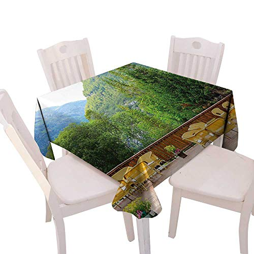 Cheery-Home Spillproof Fabric Tablecloth Suitable All Occasions,(W36 x L36) Travel Decor Tables Chairs Restaurant in Norway Mountains Nature Green Mustard Brown.