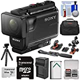 Sony Action Cam HDR-AS50 Wi-Fi HD Video Camera Camcorder with 64GB Card + Battery & Charger + Case + Tripod + Flat Surface & 2 Helmet Mounts + Kit