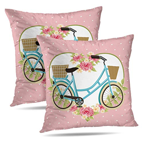 Lshtar Set of 2 Throw Pillow Covers, Vintage Bike Basket Flowers Heart Decoration Bicycle Art Beautiful for Sofa Cushion CoverShort Plush Design Decoration Home Bed Pillowcase 18x18 inch
