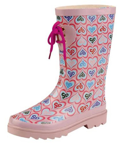 Natural-Breeze Nb9205 Ii Small Pink Hearts Girls/childrens Rubber Rain Boots