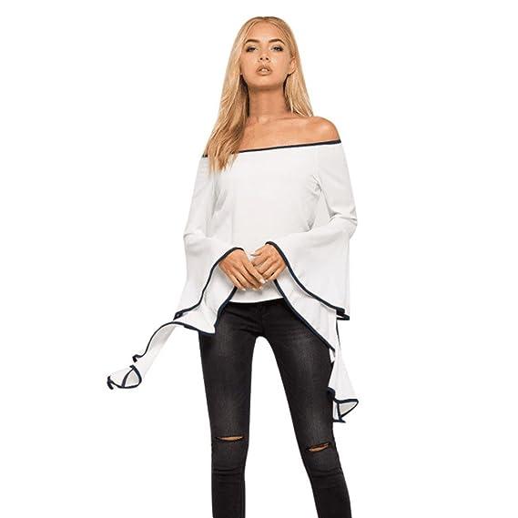 OverDose mujeres sin hombro rizado blusa verano camiseta (S, Blanco)