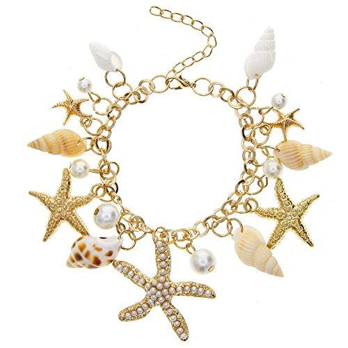 Bangles Bangle Shell (Women's Bracelet with Starfish Artificial Pearl Shell Bracelet Bangles Pendant Jewelry)