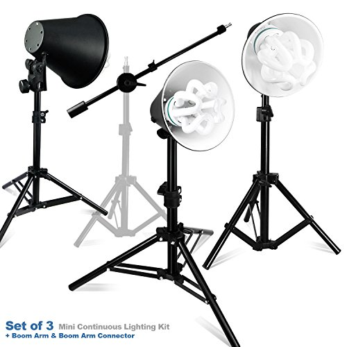 Julius Studio 50W-3 Light Stand Kits Photography Photography Table Top Photo Studio Lighting Kit and a Boom Stand, PR22_AM1 by Julius Studio