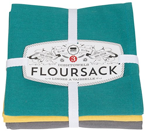 (Now Designs Floursack Dishtowel Set of Three: Mallard, Curry and Eiffel, Green Yellow Grey)