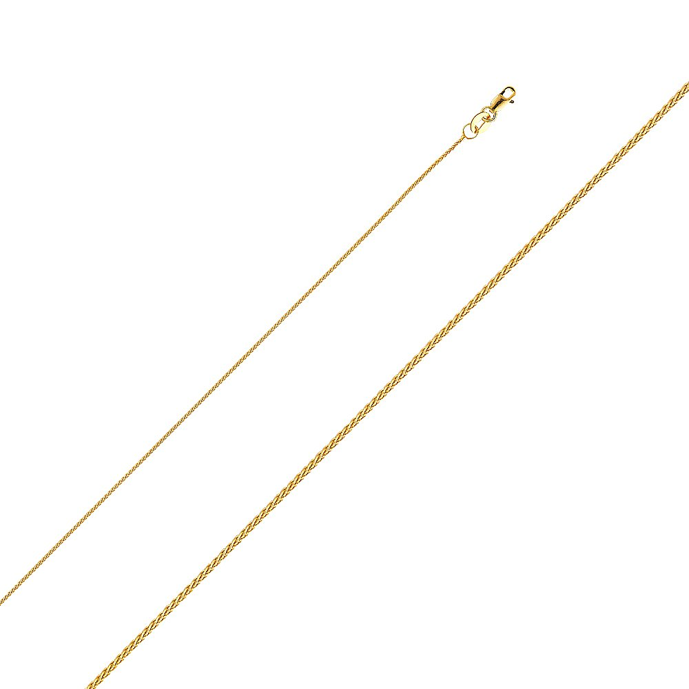 Ioka - 14K Yellow Solid Gold 0.9mm Wheat Chain Necklace with Lobster Clasp - 18''