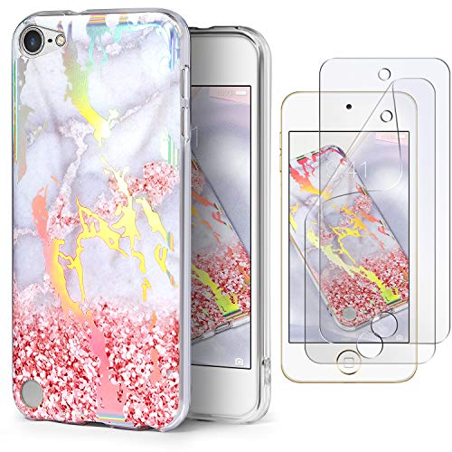 IDWELL iPod Touch 7 Touch 6 Touch 5 Case with 2 Screen Protectors, Slim FIT Anti-Scratch Flexible Soft TPU Bumper Hybrid Shockproof Protective Case for iPod Touch 5/6/7th Gen,Pink Glitter Marble
