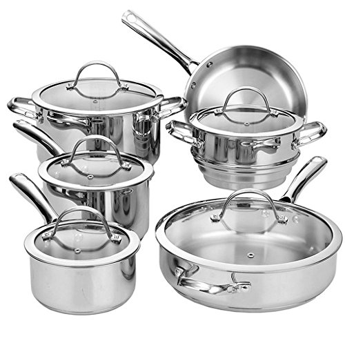 Stainless-Steel 11-Piece Cookware Set, Each Stainless Steel Pan Features An Impact-Bonded Aluminum Disc To Ensure Even Heat Distribution And Is Dishwasher Safe For Easy Cleanup