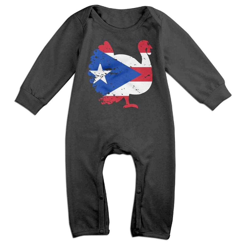 Newborn Kids Long Sleeved Coveralls Puerto Rico Patriotic Turkey Thanksgiving Toddler Jumpsuit