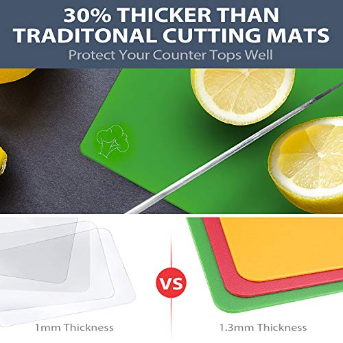 Flexible Plastic Cutting Boards Set for Kitchen Dishwasher Safe Thicker Cutting Mats Sheets with
