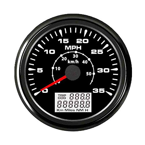 ELING Car Boat GPS Speedometer Velometer 0-35MPH 0-55KM/H Odometer with ODO COG Trip 85mm ()