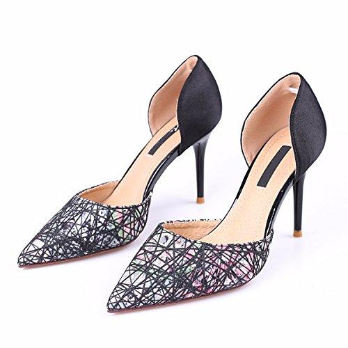 GTVERNH Chaussures pour femmes/L'Automne Les Textiles Le Satin Creux Chaussures Pointues Rétro Moyen Et Faible Talons Hauts Des Sandales Des Sandales Petite Bouche Seul Les Chaussures. black