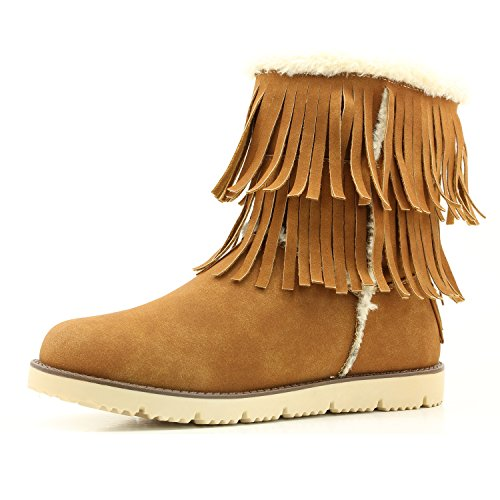 DailyShoes Women's Comfort 2-Layer Round Toe Flat Fringe Eskimo Moccasin Winter Snow Ankle High Boots, 7