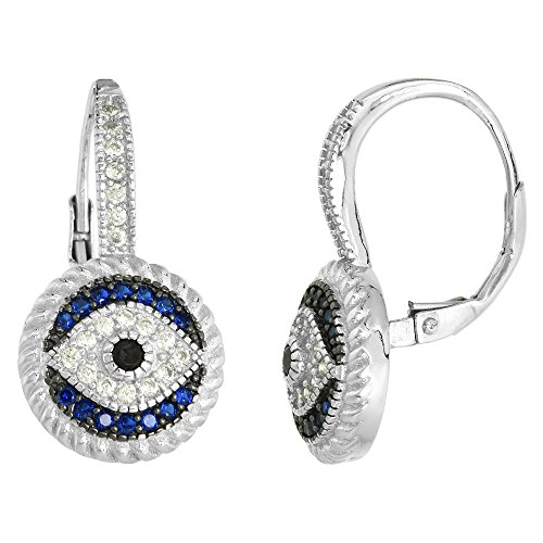 Synthetic Sapphire Earrings - Art Deco Style Sterling Silver Evil Eye Lever Back Earrings with CZ Synthetic Blue Sapphires 7/8 inch
