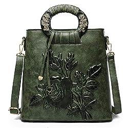 Ftsucq Womens Floral Vintage Satchels Shoulder Handbags Casual Messenger Bag Hobos Satchels Purse Green