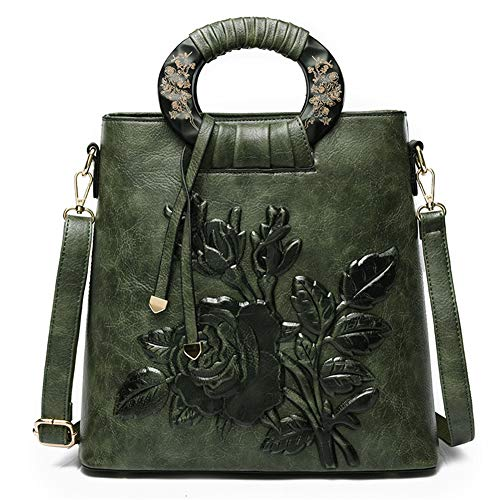 FTSUCQ Womens Floral Vintage Satchels Shoulder Handbags Casual Messenger Bag Hobos Satchels Purse -