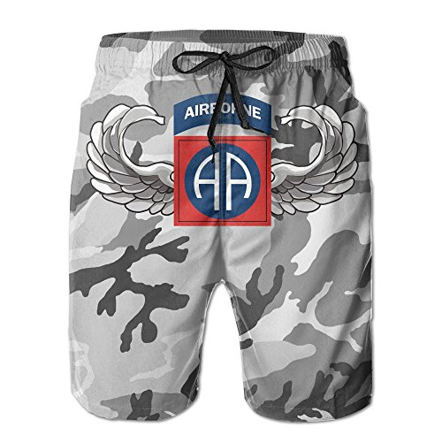 NVSHENYU US Army 82nd Airborne Jump Wings Men's Swim Trunks Casual Shorts Quick Dry ()