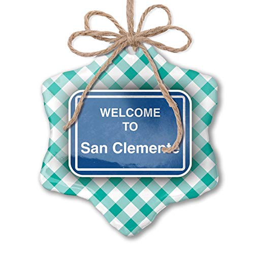 NEONBLOND Christmas Ornament Sign Welcome to San Clemente Pastel Mint Green Plaid