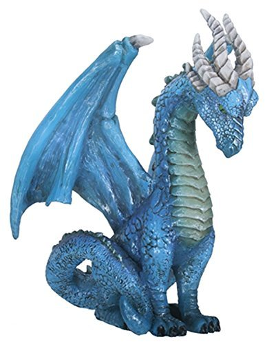 7 Inch Blue Guardian Dragon Colorful Decoration Statue - Dragon Statuette