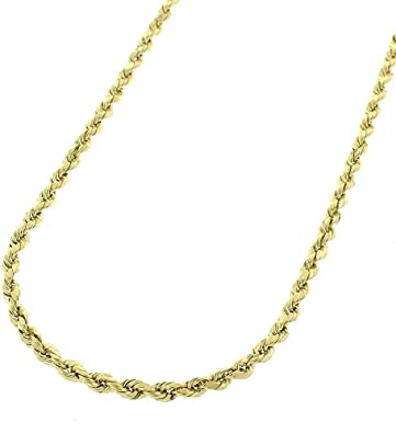 14k Gold 2mm Diamond Cut Rope Chain Necklace For Men And Women Braided Twist Chain Necklace 14k Necklace 14k Rope Chain 14 Karat Gold Necklace 16 30 16 Amazon Com