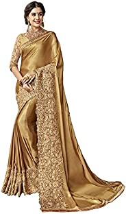 Mohit Creations Weddingwear Designer Saree with Unstitched Blouse (Golden)