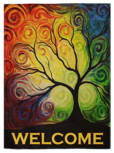 pingpi Colorful Rainbow Tree Branch Double Sided House Flag Garden Banner 12.5 x 18, Abstract Tree of Life Summer Spring Autumn Garden Flags for Anniversary Yard Outdoor Decoration ()