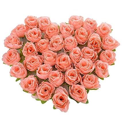 Amazon osayes rose petals silk flowers 50pcs mini rose flower osayes rose petals silk flowers 50pcs mini rose flower head artificial flowers wedding party christmas mightylinksfo