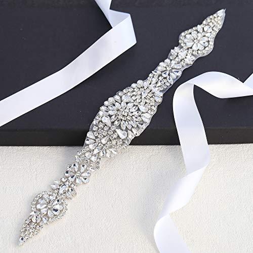 Bridal- Applique- Rhinestone- Trim for Women- Belt (Silver)