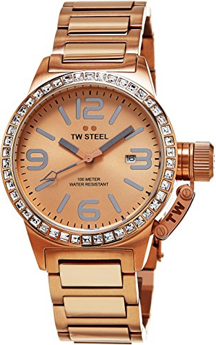 TW Steel Canteen Swarovski Crystal Stainless Steel Plated Rose Gold Watch for Women - Rose Dial Date TW Steel Watch Womens - 40mm Large Face Ladies Watch TW305 ()