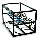 Mytrix Solid Aluminum Cryptocurrency Open Air Mining Rig Frame Case Single PSU – Fits up to 6 GPU for Crypto Coin ETH Ethereum Zcash ZEC Bitcoin (Frame With Riser) - Black