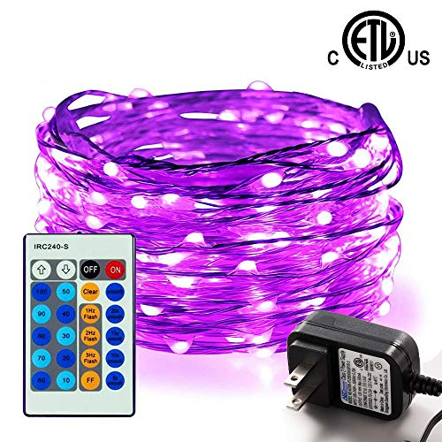 100 LED String Lights,Easest 33 feet Long Copper Wire Starry Lights Dimmable Fairy Lights with Remote Control for Bedroom,Halloween,Home,Party,Patio,Tree,Wedding,Light Decoration (Purple)]()