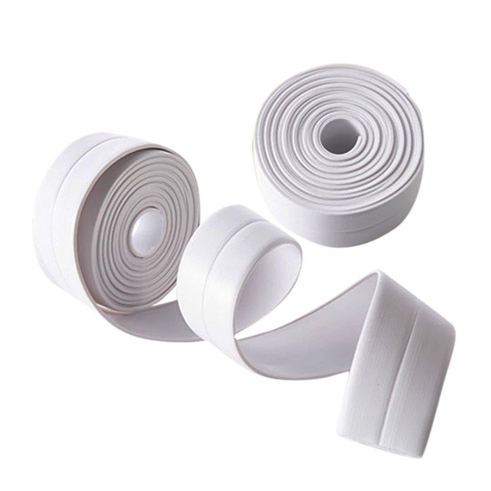 MyLifeUNIT White Tub And Wall Caulk Strip, 1-1/2'' x 11' Kitchen Caulk Tape Bathroom Wall Sealing Tape Waterproof Self-Adhesive Decorative Trim (Pack of 2)
