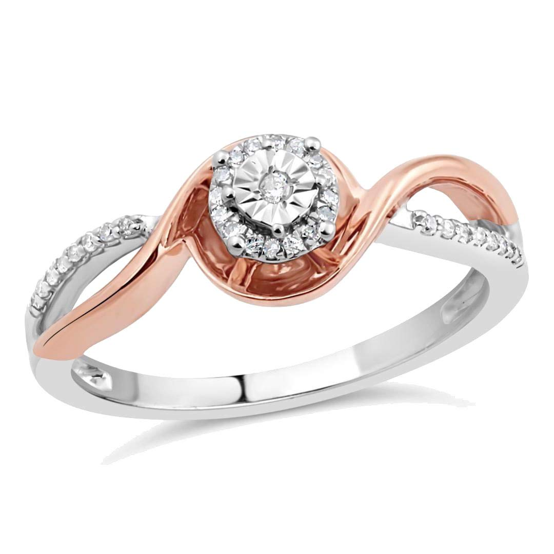 Diamond Promise Ring in Sterling Silver and 10k Rose Gold 1/10 cttw-Size 8
