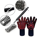 Grill Brush 18'' Grill Gloves 932℉ Extreme Heat Resistant BBQ Gloves for Grilling,Baking,Kitchen,1 Pair (Black and Red)