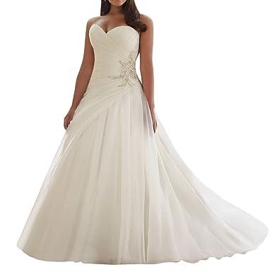 Robe De Mariée Longue Robe Nuptiale Tulle Robe Mariage A Ligne Sans Bretelles