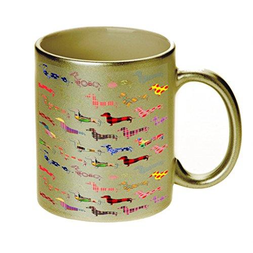 (Floral Daschund Dog Gold Sparkle Coffee Cup)