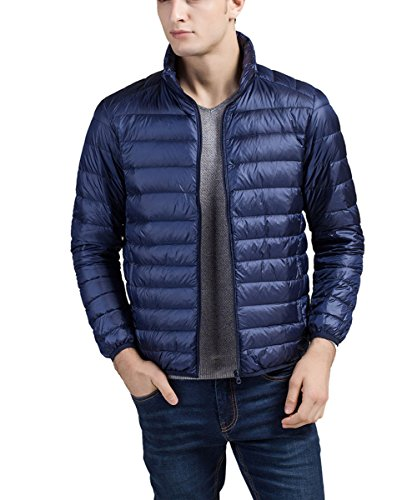 Lightweight Standing XXL Padded Jacket Puffa Down Blue Coat Warm Jacket Men's Panegy Packable Dark Collar wEqznCB