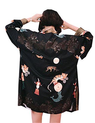 [イダク] レティース シャツ 和風 羽織り 花柄 プリント ゆったり カジュアル 個性的 ジャケット 日焼け止め服