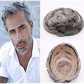 Gray Color Mono Lace Toupee Natural Wave Brazilian Remy Hair Old Men Human Hair Toupee 6×7