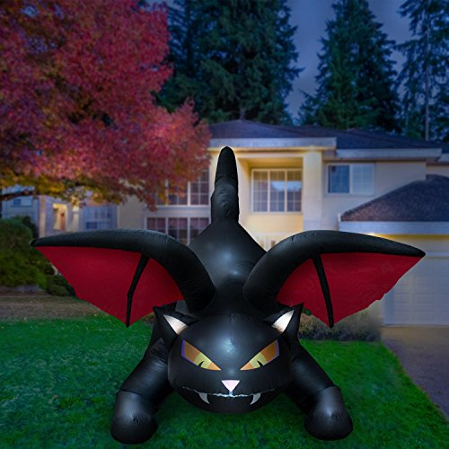 Holidayana Halloween Inflatable Giant 8 Ft Spooky Cat Bat Wings Featuring Lighted Interior/Airblown Inflatable Decoration Built in Fan Anchor -