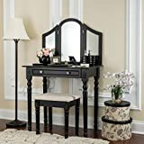 Fineboard Three Mirror Vanity Dressing Table Set with Stool. Single Drawer Makeup Table and Mirror set in Wood, Black