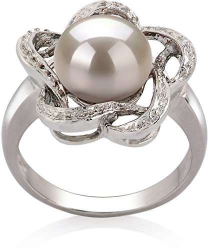 9mm Cultured Pearl Ring (PearlsOnly - Fiona White 9-10mm AA Quality Freshwater 925 Sterling Silver Cultured Pearl Ring - Size-6)