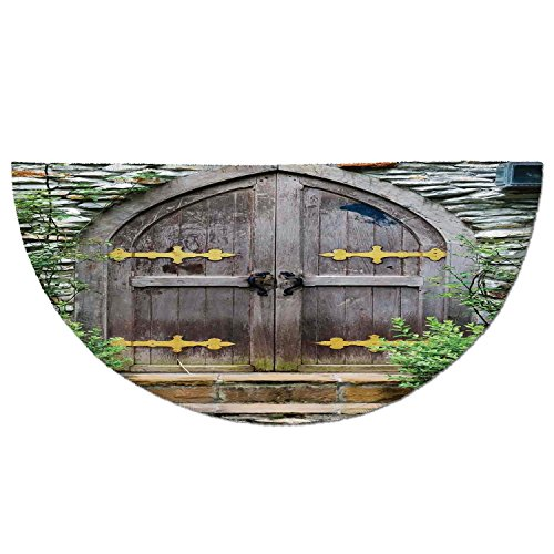 Half Round Door Mat Entrance Rug Floor Mats,Rustic,Unique Castle Traditional Middle Age Heritage Fairy Doorway Aged Entrance Picture,Brown Green,Garage Entry Carpet Decor for House Patio Grass Water