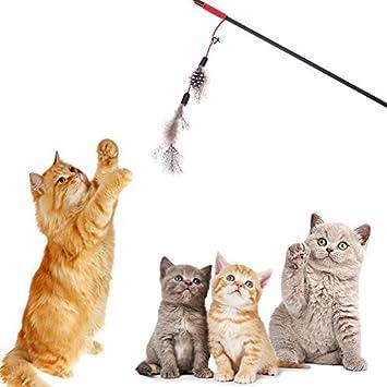 Broadroot Palo de plumas artificiales para gato, caña de pescar ...