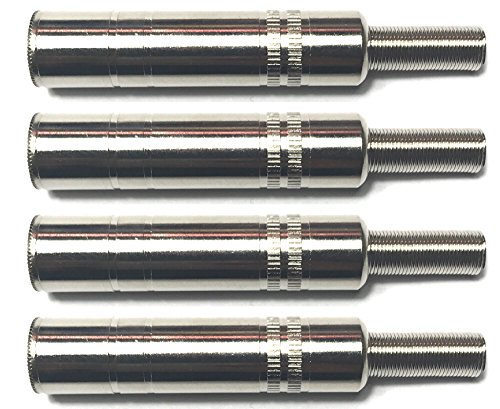 CESS 1/4 Inch TS Female Jack -1/4 Cable Connector for Microphone and Guitar - 6.35mm Mono Socket (4 Pack)