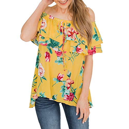 Botrong Off Shoulder Tops for Women, Summer Casual Floral Printed Shirt Ruffle Bowknot Tank Top Blouse Yellow