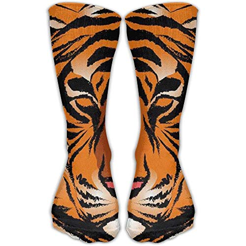 (Personalized Cool Winter Warm Stockings Striped Bengal Tiger Performance Work Crew Women's Fitness Knee High Sock)