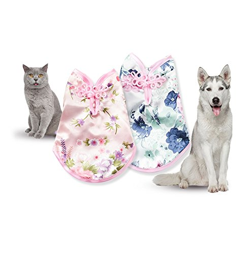 Stock Show 1Pc Pet Dog Spring Summer Flower Dress, Chinese Cheongsam Style Female Pet Sleeveless T-Shirt Costume Party Apparel for Puppy Cats, Blue (Dresses Chinese Dress Chinese)