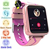 Jesam Kids Music Player Smart Watch - Smart Watch with Mp3 FM Player Watch [with 1GB Micro SD Card] and Camera Flashlight SIM Slot Phone Call Voice Chat for Students Age 4-12 (Pink&Rose)